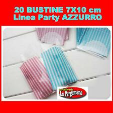 20 bustine PARTY plastica trasparente con strip adesiva f.to 7X13 feste AZZURRO