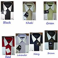 Men's DressShirt 65% Polyester 35%Cotton Two Tone Solid Color French Cuff SG03F2