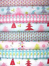 8 Fat Quarters CHRISTMAS BASICS in Pink & Blue by Riley Blake ~ Christmas Fabric