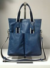 Coach Men's Heritage Web Leather Foldover Marine Blue Tote F70558 Msrp $448.00