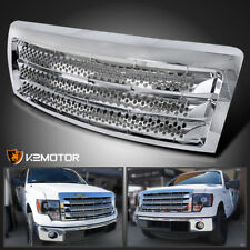 09-14 Ford F150 Denali Round Hole Style Chrome Front Bumper Hood Grill Grille