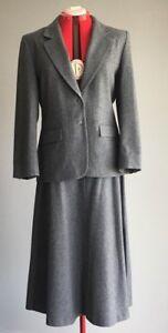 Pendleton 2 Piece Melange Gray Virgin Wool Blazer & A-line MIDI Skirt L EUC