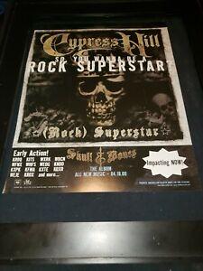 Cypress Hill Rock Superstar Rare Original Radio Promo Poster Ad Framed!