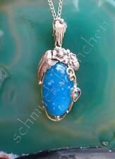 Colgante smithsonit Topacio Azul con plumas y flores plata esterlina 925
