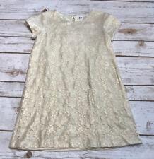 H&M Girls 4 5 6 Beige Gold Floral Lace Crochet Party Fancy Tunic Dress Sparkle