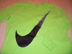 NIKE ATHLETIC CUT LONG SLEEVE GREEN T-SHIRT MENS LARGE EXCELLENT CONDITION