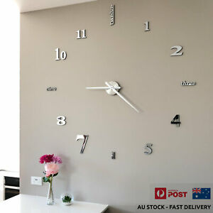 Modern Large Wall Clock 1m, Acrylic Mirror Finish 3D Stickers | Home Décor