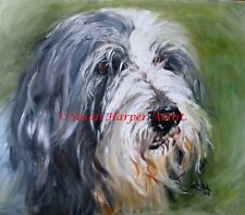 More details for sale bearded collie signed dog print by susan harper unmounted