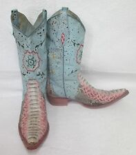 Women's Vintage Animal Exotic Cobra Fashion Blue/Pink Western Boots Sz 5 M
