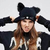 Damen Warme Winter mütze Wolle Gestrickte Katze Ohren Hüte Pompom Beanie Ca I1R7