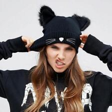 Women Warm Winter Hat Wool Knitted Cat Ears Hats Skullies Pompom Beanie Caps