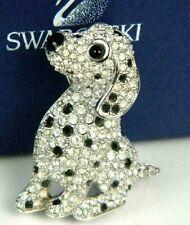 Swarovski Dog Puppy Dalmation Figural Crystal Cluster Pin Brooch Swan Signed