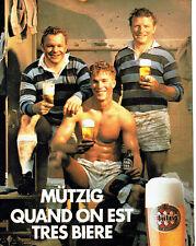Publicité Advertising 028  1985   bière Mutzig    rugby
