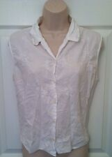 WOMEN WHITE TOP BUTTON DOWN SLEEVELESS LIGHTWEIGHT  PETITE SMALL PS AS IS!!