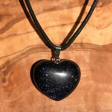 "Blue Goldstone Crystal Heart Pendant 25mm with 20"" Black Cord Necklace Good Luck"