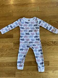 Tea Collection Girls Pajama Set Purple Lavender Elephants