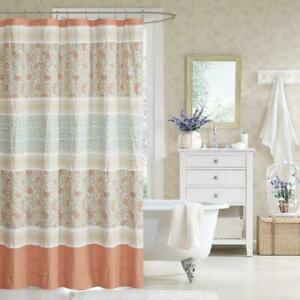 """Coral & White Cottage Chic Paisley Cotton Fabric Shower Curtain -72"""" x 72"""" (714)"""