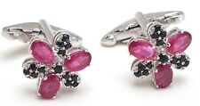 Ruby & Sapphire Men's Cufflink Jewelry 14K Solid White Gold Natural Gem Stone