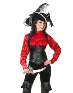 Women's XS Teen 3-5 Red Satin Pirate Shirt Blouse Costume