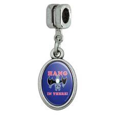 Hang in There Bat Funny Humor Italian European Style Bracelet Oval Charm Bead