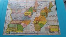 Vintage Denoyer-Geppert Wall Map of State Claims (A9)