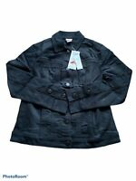 chicos womens button down black jean jacket size 00p nwt