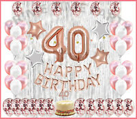 40th Birthday Decorations Party Supplies 40th Birthday balloons Rose gold Confe