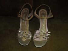 POLLINI SILVER/BEIGE REPTILE PRINT HEELS SIZE 37 MADE IN ITALY