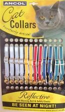 REFLECTIVE SAFETY CAT COLLARS by ANCOL X 12 ASSORTED COLOURS