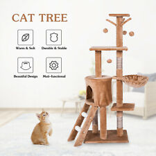 """54.6"""" Cat Tree Condo Climbing Tower Scratching Kitty Multi Level House Indoor"""