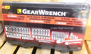 "Gearwrench 80948 76 Piece SAE/Metric & Deep Mechanics Tool Set 1/4"" & 3/8"" Drive"
