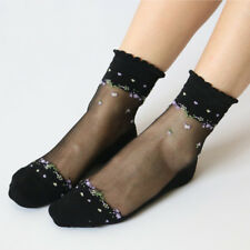 Fashion Women Lace Elastic Crystal Glass Silk Thin Ultrathin Flower Short Socks