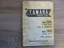 Yamaha Parts List Spare Parts catalog FS1G FS1S FS1 catalogue Explosive drawing