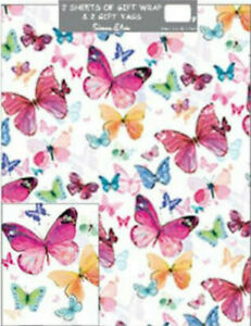 Folded Gift Wrap 2 X Sheets 2 X Matching Tags | Female Butterflies Butterfly