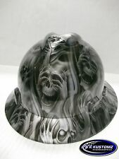 Silver Three Evil Pattern Full Brim New Custom MSA V-Gard Hard Hat W/FasTrac