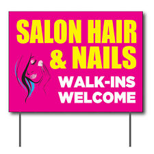 Salon Hair Amp Nails Curbside Sign 24w X 18h Full Color Double Sided