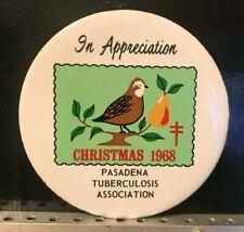 "1968 Pasadena Tuberculosis Association Christmas Seals 3-1/2"" Coaster Partridge"