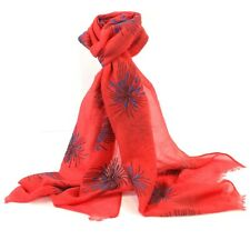 Coral Orange Firework Scarf White Fireworks Scarves Shawl Colourful Last One