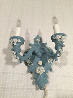 NEW CAPODIMONTE ITALIAN CERAMIC Blue White Floral Lighting Fixture WALL SCONCE