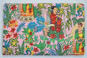 New Screen Print Handmade Indian Kantha Quilt Bedspread Cotton Blanket Coverlets