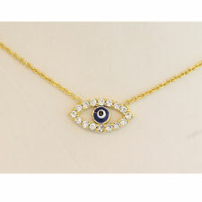 """MINI EVIL EYE CUTE SIZE NECKLACE Sterling Silver ADJUSTABLE 16"""" - 18""""   YELLOW"""