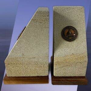 Rare US United States CAPITOL Building Sandstone Historic BOOKENDS Medallion