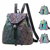 Women Laser Luminous Backpack Geometric Shoulder Bag Reflective Students Bags