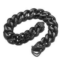 Mens Black Bracelet Bangle Stainless Steel Curb Cuban Chain Hip Hip Jewelry 15mm