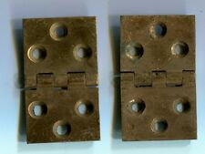 "Solid Brass Antique hinge pair 1 1/4"" x 2"" ca: 1900 3/32 thick stock"