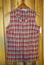Cabin Creek Womens Red Plaid Button Down Vest M Medium New With Tags!