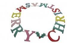 Gisela Graham Merry Christmas Garland - Colourful Christmas hanging Decoration