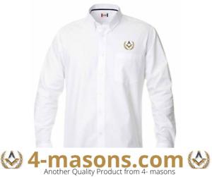 Lodge wear classic white long sleeve shirt with masonic Square & Compass Motif