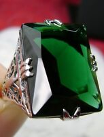 30ct Rectangle *Green Emerald* Sterling Silver Filigree Ring: {Made To Order}