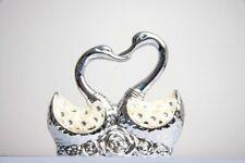 Italian Silver Ceramic Pair of Swan Ornament Figurine Home decor X-mas Gift NEW